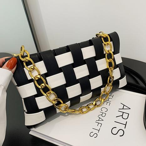 Korean version contrast lattice chain messenger braided envelope bag NHGA441404's discount tags