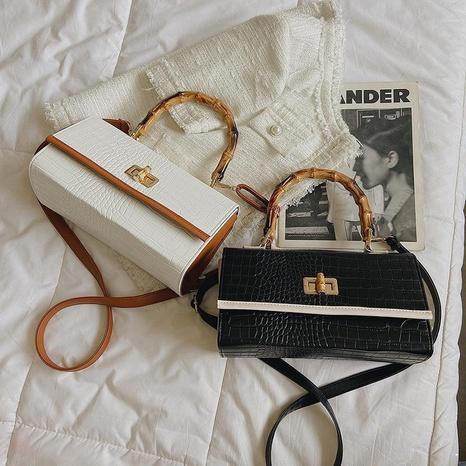 fashion trendy bamboo handbag temperament crocodile pattern one shoulder messenger bag  NHGA441405's discount tags