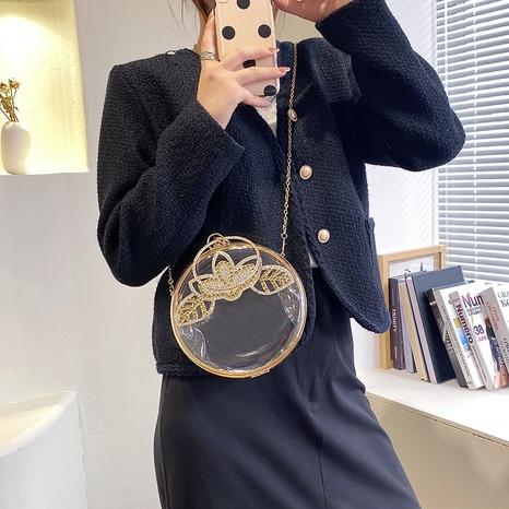 Acrylic transparent small round bag girl mobile phone change small bag  NHGA441407's discount tags