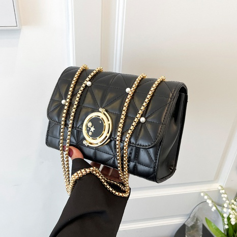 Lingge embroidery thread fashion beaded shoulder messenger chain bag NHGA441414's discount tags