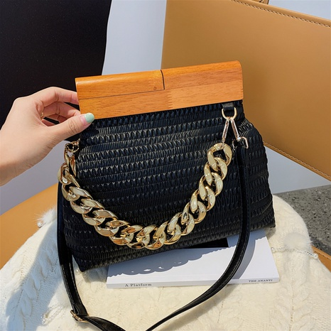 new wood portable female bag thick chain fold dumpling bag simple one shoulder messenger cloud bag NHGA441425's discount tags