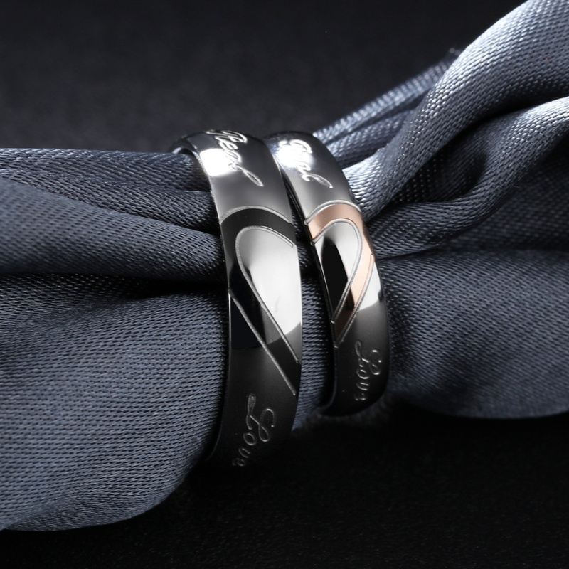 simple heartshaped puzzle titanium steel couple ring NHOP313431
