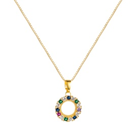 hip-hop zircon round hollow necklace NHLN313597