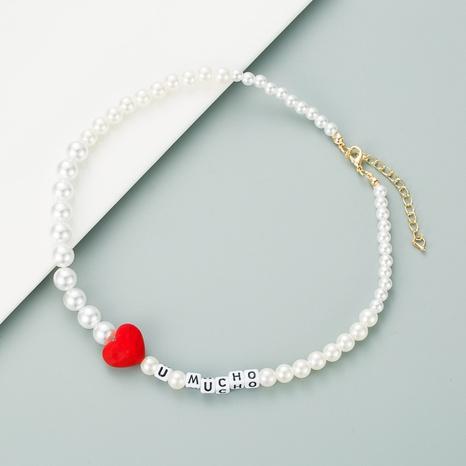 collier de perles en forme de coeur rouge NHLN313598's discount tags