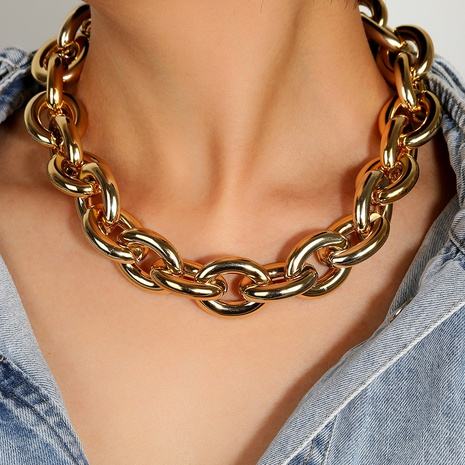 punk metal short necklace NHLN313599's discount tags