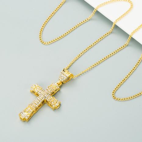 collar con colgante de diamantes con cruz de hip-hop NHLN313601's discount tags