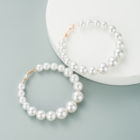 simple exaggerated geometric pearl earrings NHLN313600's discount tags