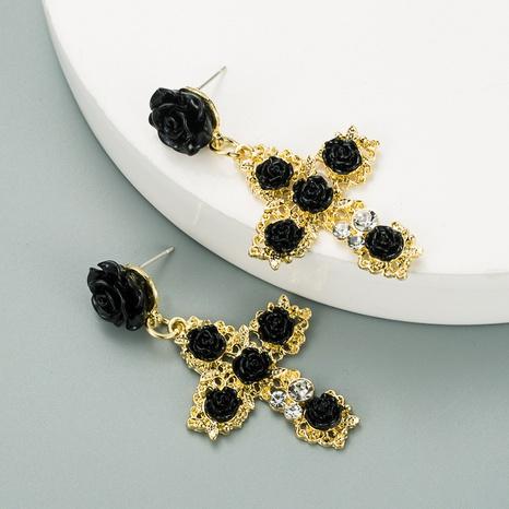 Rosenblumenohrringe im koreanischen Mode-Barockstil NHLN313608's discount tags