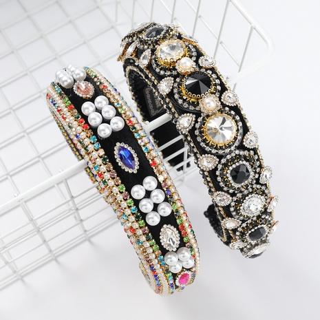 Bandeau coréen en velours or incrusté de perles NHJE313614's discount tags