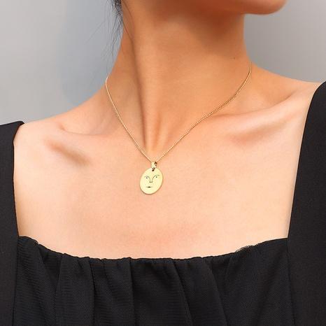 collier pendentif drôle de visage de sourire creux NHOK313663's discount tags