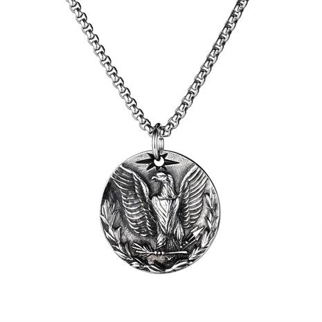 collier de mode pendentif aigle rond en acier titane NHOP313674's discount tags