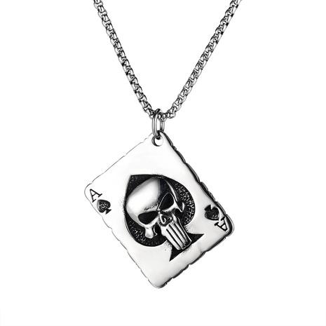 collier en acier titane pendentif carte crâne rétro NHOP313678's discount tags