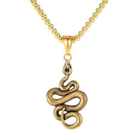 collier pendentif python acier titane hip-hop pour homme NHOP313684's discount tags