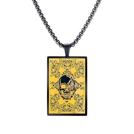 collier hip-hop square skull en acier titane NHOP313688's discount tags