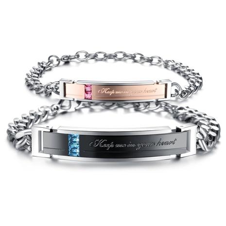 bracelet en acier titane serti de zircon NHOP313714's discount tags