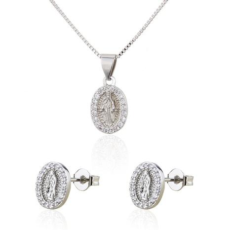 Ensemble de collier de boucles d'oreilles en cuivre vierge ovale ovale en zirconium simple NHBP313720's discount tags