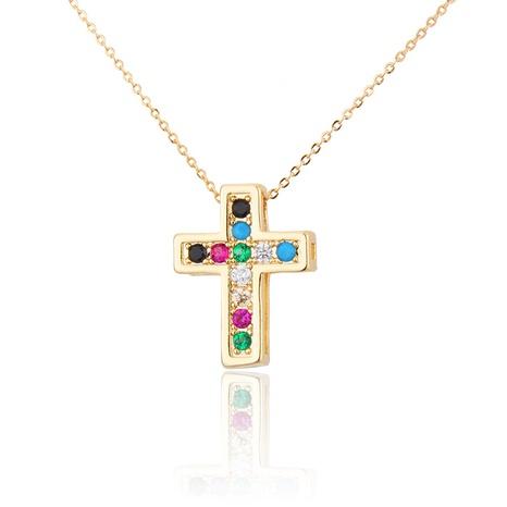 collier en cuivre zirconium croix simple NHBP313722's discount tags