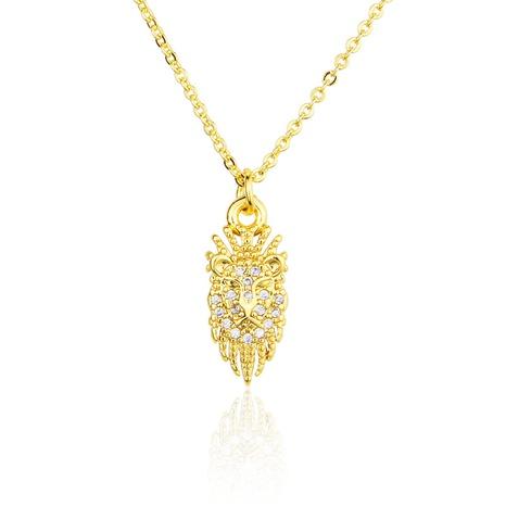 nouveau collier pendentif tête de lion zircon NHBP313730's discount tags