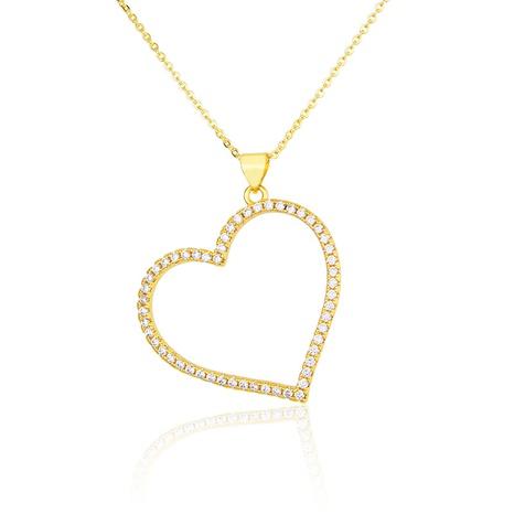 nouveau collier en forme de coeur zircon plaqué or NHBP313731's discount tags