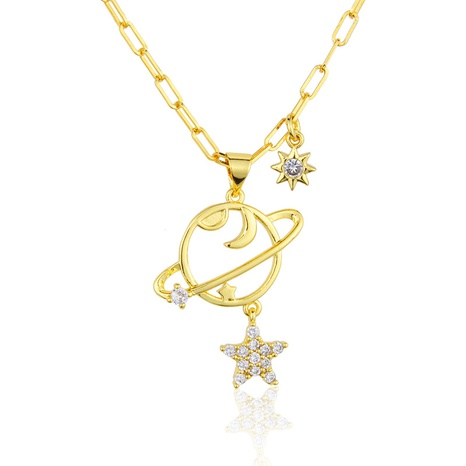 Zirkon Planet Stern Anhänger vergoldete Halskette NHBP313735's discount tags