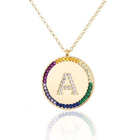 vergoldete Farbe Zirkonium 26 Buchstaben Halskette NHBP313736's discount tags