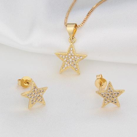 ensemble de boucles d'oreilles collier étoile à cinq branches en zirconium simple incrusté NHBP313740's discount tags