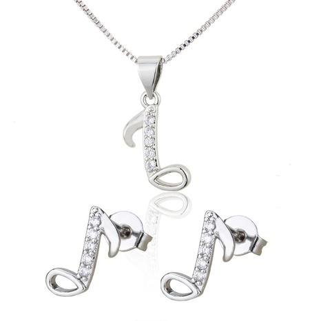 ensemble de boucles d'oreilles collier simple note de musique en zirconium incrusté NHBP313741's discount tags