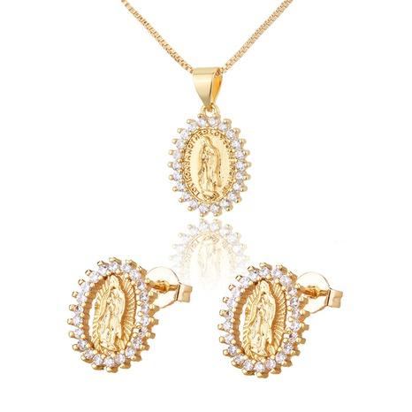 ensemble de boucles d'oreilles collier vierge ovale en zirconium simple incrusté NHBP313745's discount tags