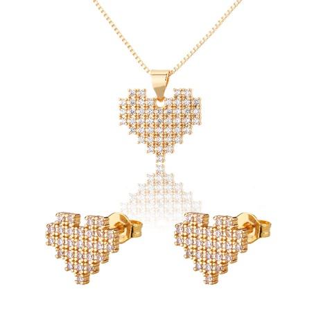 ensemble de boucles d'oreilles collier en forme de cœur en zirconium NHBP313746's discount tags