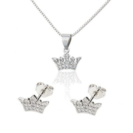 ensemble de boucles d'oreilles collier couronne de zirconium incrusté simple NHBP313750's discount tags