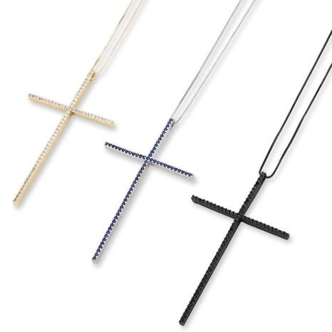 collier grande croix en cuivre zirconium incrusté NHBP313749's discount tags