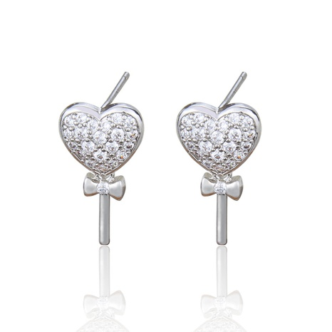 inlaid zirconium heart-shaped bow copper earrings NHBP313751's discount tags