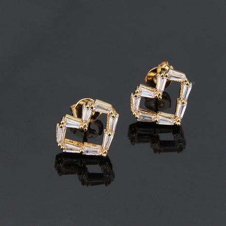 boucles d'oreilles en forme de cœur en zircon carré NHBP313757's discount tags