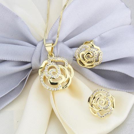ensemble de collier boucles d'oreilles zircon rose NHBP313762's discount tags