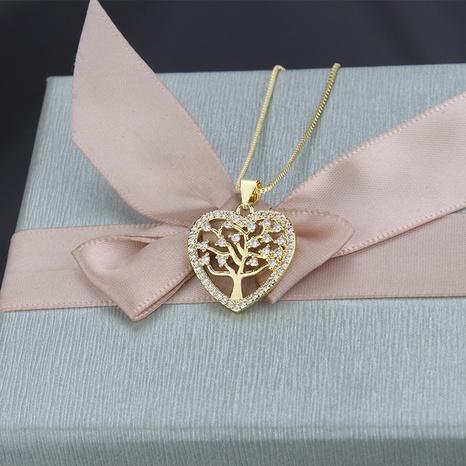 nouveau collier en forme d'arbre en forme de zircon micro-incrusté de cuivre creux simple NHBP313765's discount tags