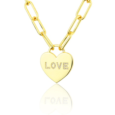 vergoldete glatte herzförmige Diamantkette NHBP313773's discount tags