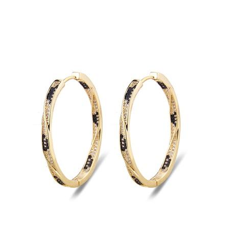 boucles d'oreilles simples ovales à imprimé léopard et zircon à deux rangs NHBP313779's discount tags