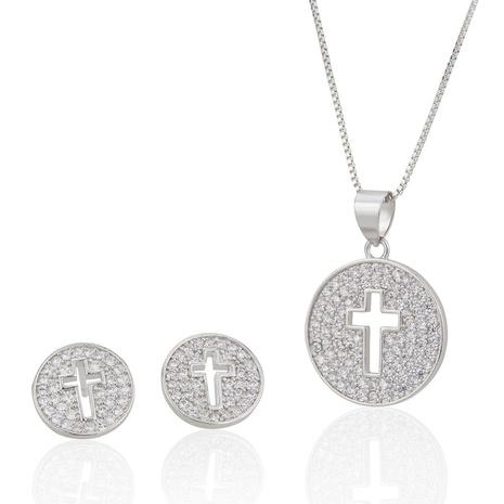 Conjunto collar pendientes cruz hueca NHBP313782's discount tags