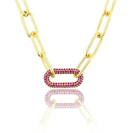 collier zirconium couleur plaqué or à chaîne carrée NHBP313783's discount tags
