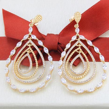 boucles d'oreilles en zircon plaqué or à la mode NHBP313792's discount tags