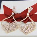 simple goldplated zircon heartshaped earrings NHBP313791