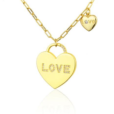 collier en forme de cœur en plaqué or et zirconium NHBP313793's discount tags