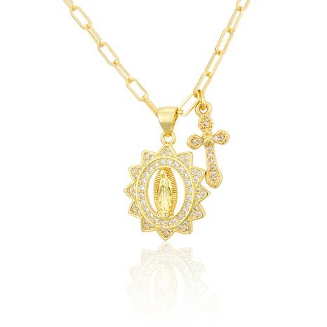 collier Virgin ovale plaqué or avec zirconium NHBP313800's discount tags