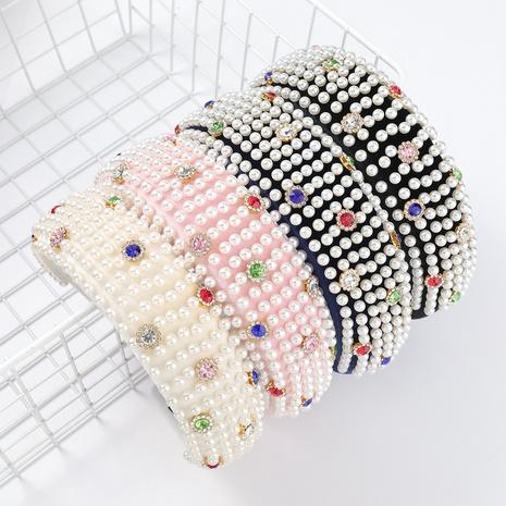 Bandeau de cheveux en perles de velours incrusté de diamants NHJE313811's discount tags