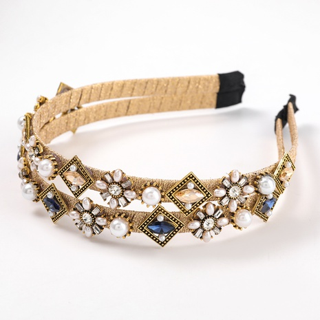 new square alloy diamond inlaid pearl flower hairband NHJE313819's discount tags