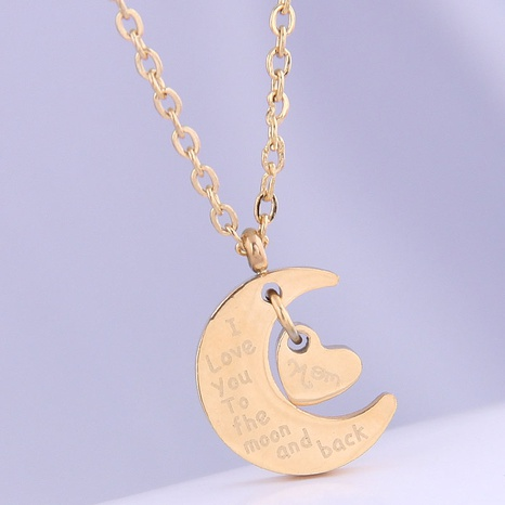 Korean fashion heart and moon titanium steel necklace NHSC315445's discount tags