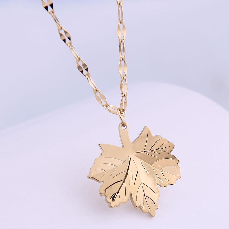 Korean fashion maple leaf titanium steel necklace NHSC315451