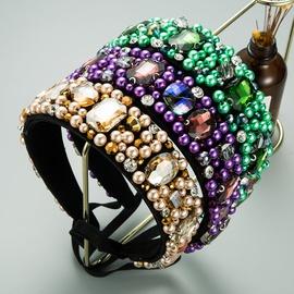 rhinestone green pearl non-slip headband NHLN315392