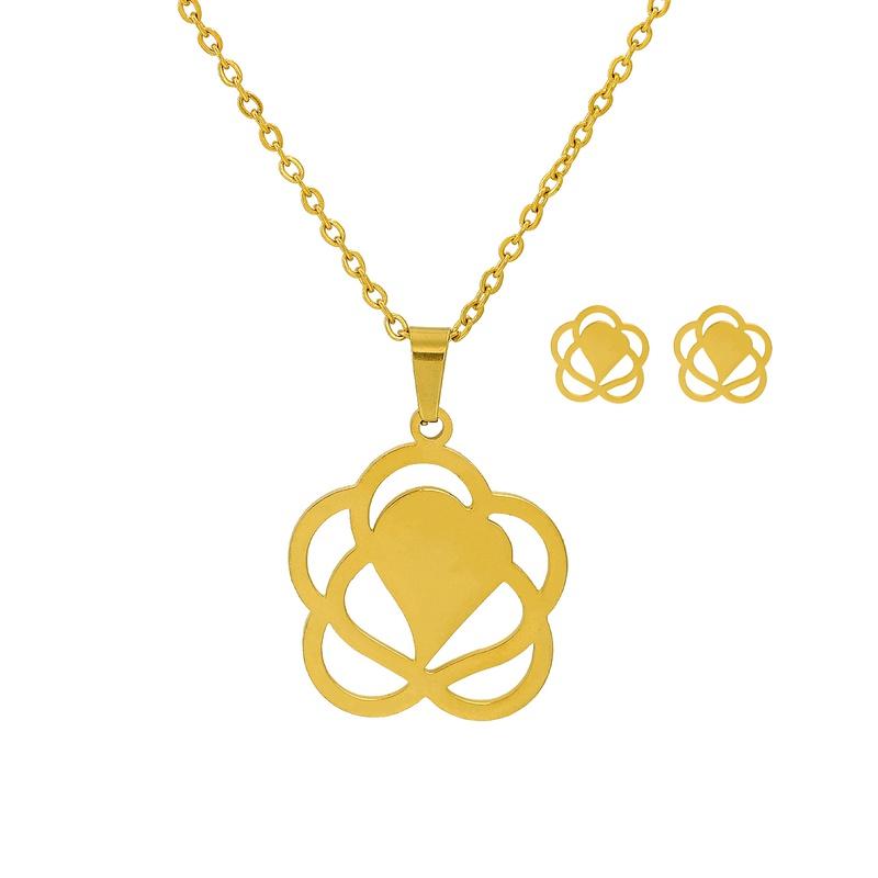 Korean Fashion Heartshaped Flower Necklace Earrings Twopiece Set NHJJ315423