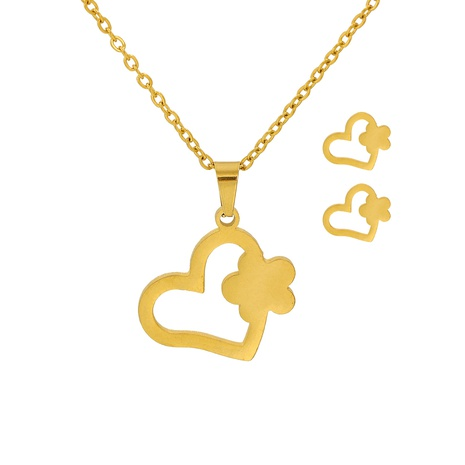 fashion heart-shaped flower pendant necklace earrings two-piece set NHJJ315424's discount tags